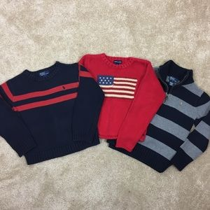 3 Lot POLO Ralph Lauren FLAG & Striped SWEATERS  6